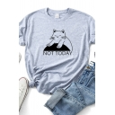 Casual Womens Letter Not Today Cat Graphic Rolled Short Sleeve Crew Neck Relaxed T Shirt