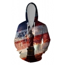 Dressy Mens 3D Character USA Flag Pattern Letter July Fourth Independence Day Printed Zipper up Pocket Drawstring Long Sleeve Fitted Graphic Hooded Sweatshirt