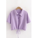 Stylish Purple Drawstring Hem Short Sleeve Point Collar Button up Regular Fit Cropped Polo Shirt for Girls