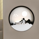 Modernism Circle Wall Lighting Idea Metal LED Indoor Wall Mural Lamp with Windmill and Mountain Pattern in Black