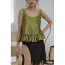 Cute Girls Solid Color Button Down Back Ruffle Cuff Scoop Neck Sleeveless Regular Fit Smock Tank Top in Green