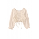 Boutique Girls Solid Color Double Ruched Drawstring Ruffle Trim Square Neck Long Puff Sleeve Slim Fit Crop Shirt