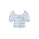 Cute Girls Striped Pleated Tie Detail Ruffle Trim Square Neck Short Puff Sleeve Slim Fit Crop Blouse Top in Blue
