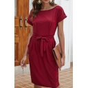Elegant Womens Solid Color Short Sleeve Round Neck Bow Tied Waist Midi Shift T Shirt Dress in Burgundy