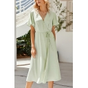 Fashion Solid Color Light Green Short Sleeve Surplice Neck Bow Tied Waist Mid Wrap A-line Dress