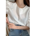 All over Floral Embroidery Puff Sleeve Crew Neck Relaxed Fit Cute Blouse in White