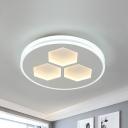 Cutouts Honeycomb Iron Flush Mount Nordic White LED Close to Ceiling Light Fixture