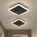 Simplicity Square Mini Acrylic Flushmount LED Ceiling Flush Mount Light in Black for Foyer, Warm/White Light