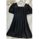 Vintage Girls Solid Color Pleated Side Zip Square Neck Short Puff Sleeve Midi Fit&Flared Dress