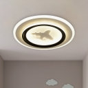 Acrylic Round Flush Mount Fixture Cartoon LED Flush Ceiling Lighting with Airplane/Deer Pattern in Black and White
