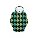 Casual Geometry 3D Print Drawstring Pocket Fitted Full Sleeve Hoodie for Men