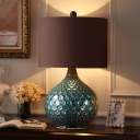 Coffee 1 Head Night Stand Lamp Countryside Fabric Straight-Sided Drum Table Light with Onion Ceramic Base, 11