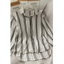 Casual Womens Striped Button Down Collared Long Sleeve Loose Fit High Low Shirt