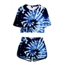 Tie Dye Vortex 3D Printed Short Sleeve Crew Neck Loose Cropped T Shirt & Contrasted Short Fashion Set for Women