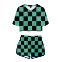 Creative Womens Checkered Geo 3D Printed Short Sleeve Crew Neck Loose Crop Tee & Contrasted Shorts Set