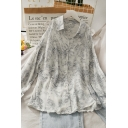 Novelty Plant Printed Button Down Collared Long Cold Shoulder Relaxed Fit Tunic Blouse for Womens