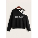 Stylish Womens Letter 90's Baby Long Sleeve Asymmetric Cold Shoulder Strap Panel Loose Pullover Sweatshirt