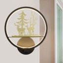 Nordic Style Elk Wall Mural Lamp Metallic Bedside LED Circle Wall Lighting Fixture in Black-Gold