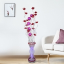 Aluminum Wire Red Floor Standing Light Lotus and Vase Art Deco LED Stand Up Lamp