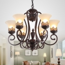 Antiqued Bell Shade Up Suspension Light 3/6-Bulb Frosted Glass Ceiling Chandelier in Red Brown