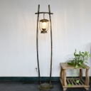 1 Light Rack Standing Floor Light Coastal Bronze Finish Metal Stand Up Lamp with Lantern Shade