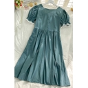 Summer Girls Pleated Patchwork Lace Trim Square Neck Short Puff Sleeve Zip Back Midi Swing Dress in Green