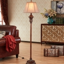 Empire Shade Parlour Floor Lighting Farmhouse Fabric 1-Head Brown Standing Floor Lamp
