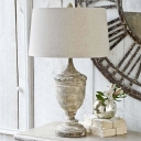 Fabric Distressed White Table Light Drum Shade 1 Head Antiqued Nightstand Lamp with Urn Base
