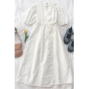 Popular Womens Solid Color Pleated Tie Patchwork V Neck Short Puff Sleeve Midi Wrap Dress in White