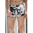Cozy Mens Shorts Colorblock Pocket Elastic Mid Rise Regular Fit Shorts