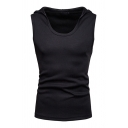 Mens Fancy Tank Top Solid Color Hooded Fitted Sleeveless Scoop Neck Tank Top