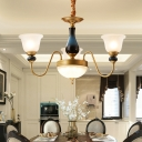 Brass Bell Shade Up Chandelier Countryside Frosted Glass 3/5/6 Lights Living Room Pendant