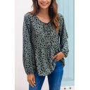Casual Womens Polka Dot Printed Long Sleeve Round Neck Bow Tied Ruffled Relaxed T Shirt in Green