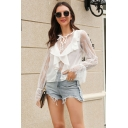 Chic Womens Sheer Lace Patched Bell Sleeve Stringy Selvedge Crew Neck Ruffled Regular Fit T-shirt in White