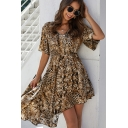 Fashionable Womens Leopard Print Short Sleeve V-neck Irregular Fit Mid Pleated A-line Dress in Coffee