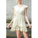 Womens Fashion Ruffled Trim Sleeveless V-neck Short Pleated A-lien Dress in Apricot