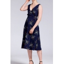 Fashion All over Flower Print Sleeveless Surplice Neck Mid A-line Tank Dress for Ladies