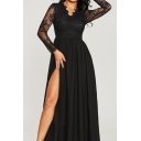 Special Occasion Womens See-through Lace Long Sleeve Scalloped V-neck High Slit Maxi Pleated Flowy Dress in Black