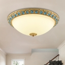 Domed Shade Opal Glass Flushmount Light Countryside LED Bedroom Ceiling Flush in Gold, 12.5