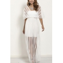 Boutique Womens Stripe Print Short Sleeve V-neck See-through Mesh Maxi Shift Dress in White