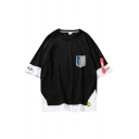 Guys Cool Comic Logo Printed Patched Fake Two-Piece Short Sleeve Loose Fit T-Shirt