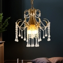 3-Light Small Chandelier Traditional Scroll Crystal Draping Pendulum Light in Gold