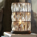 Cut Crystal Barrel Small Table Lamp Vintage 1-Head Living Room Night Light in Black