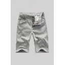 Mens Unique Shorts Solid Color Zip-fly Pocket Button Detail Knee Length Straight Fit Chino Shorts