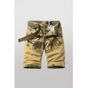 Creative Shorts Color Block Camo Printed Zip-fly Button Detail Pockets Knee Length Straight Fit Chino Shorts for Men