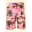 Mens 3D Relax Shorts Holiday Coconut Tree Wave Fish Pattern Regular Fitted Drawstring Waist Relax Shorts
