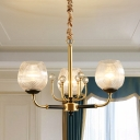 3/6 Bulbs Chandelier Pendant Lamp Post Modern Dining Room Suspension Light with Cup Latticed Glass Shade in Brass