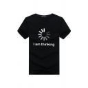 Chic Letter I Am Thinking Graphic Short Sleeve Round Neck Relaxed T Shirt for Men