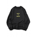 Letter With A Smile Printed Long Sleeve Crew Neck Relaxed Fit Pullover Stylish Sweatshirt in Black