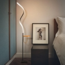 Minimalism Spiral Line Stand Up Lamp Acrylic LED Bedside Floor Reading Light in Black, White/Warm Light